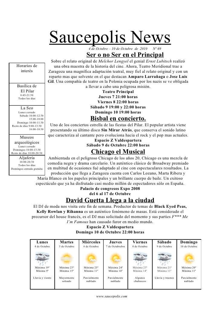 Saucepolis News         4 de Octubre – 10 de Octubre de 2010        Nº 69                                                 ...