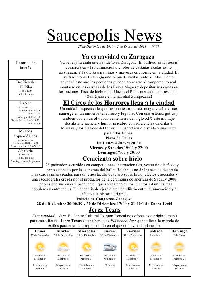Saucepolis News   27 de Diciembre de 2010 – 2 de Enero de 2011           Nº 81                                            ...
