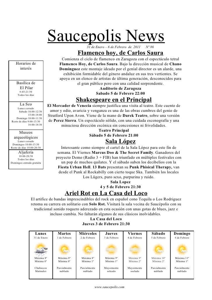 Saucepolis News           31 de Enero – 6 de Febrero de 2011          Nº 86                                               ...