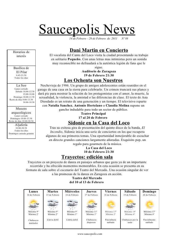Saucepolis News        14 de Febrero – 20 de Febrero de 2011         Nº 88    Horarios de                                 ...