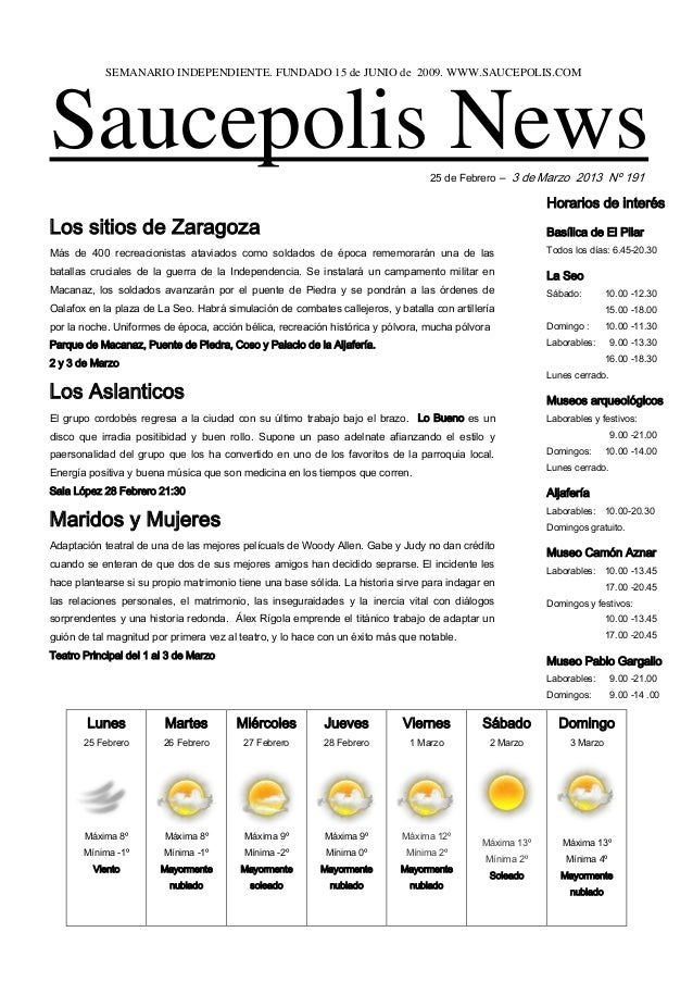 SEMANARIO INDEPENDIENTE. FUNDADO 15 de JUNIO de 2009. WWW.SAUCEPOLIS.COMSaucepolis News                                   ...