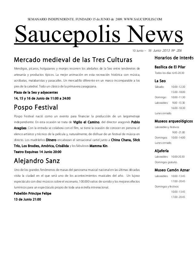 Saucepolis News10 Junio – 16 Junio 2013 Nº 206Mercado medieval de las Tres CulturasMendigos, pícaros, holgazanes y monjes ...