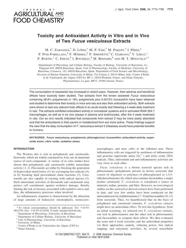 J. Agric. Food Chem. 2008, 56, 7773–7780       7773                         Toxicity and Antioxidant Activity in Vitro and...