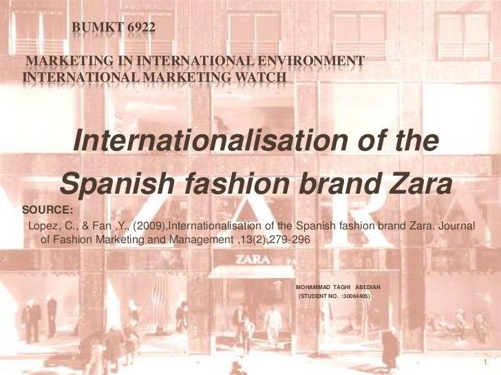 case study internationalisation of the spanish fashion brand zara