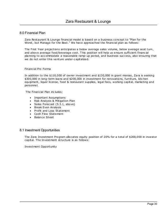zara restaurant business plan Business plan evaluation business plan evaluation: zara restaurant & lounge (revision) after completing my first evaluation of zara's business plan i could not.