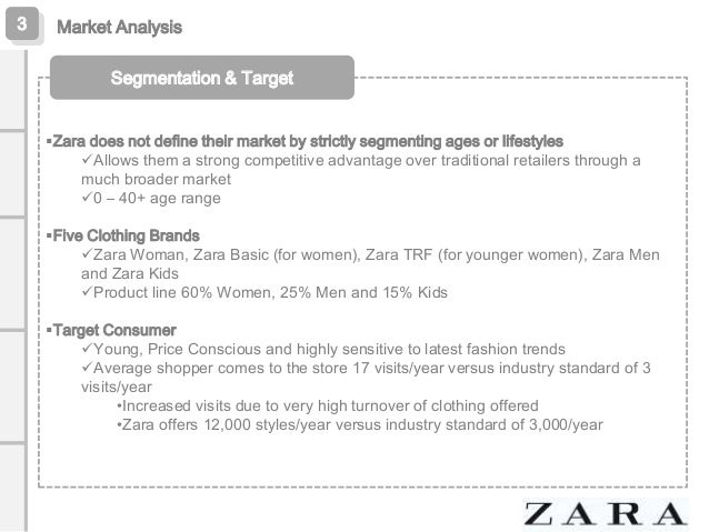 zara segmentation targeting and poitioning Market segmentation, targeting & positioning customer-driven marketing strategy market segmentation: dividing a market into groups of buyers who might require separate products of marketing mixes (kotler, 2013.