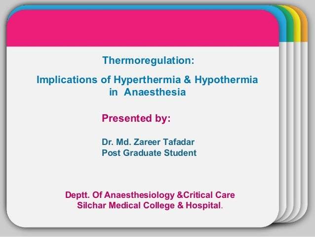 WINTERTemplate Thermoregulation: Implications of Hyperthermia & Hypothermia in Anaesthesia Presented by: Dr. Md. Zareer Ta...