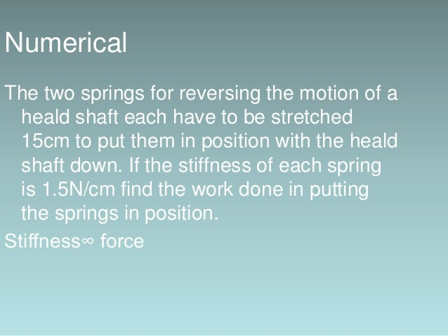 Solution : Total force required to stretch each spring = 1.5×15 = 22.5N Total force = 22.5×2 = 45N Work done = f.d =45×15 ...