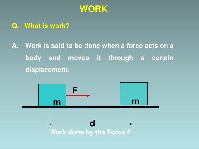 Mathematical Form: WORK d Work done by the Force F mm F