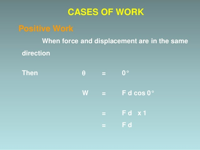Example Work done by the Force m m F CASES OF WORK d