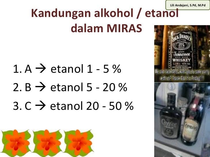 Lili Andajani, S.Pd, M.Pd   Kandungan alkohol / etanol         dalam MIRAS1. A  etanol 1 - 5 %2. B  etanol 5 - 20 %3. C ...