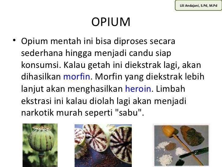Lili Andajani, S.Pd, M.Pd                   OPIUM• Opium mentah ini bisa diproses secara  sederhana hingga menjadi candu s...
