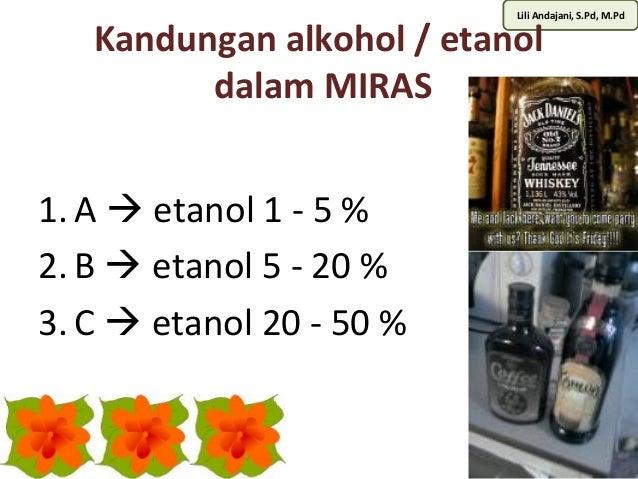 Lili Andajani, S.Pd, M.Pd Kandungan alkohol / etanol  dalam MIRAS  1. A  etanol 1 - 5 %  2. B  etanol 5 - 20 %  3. C  e...