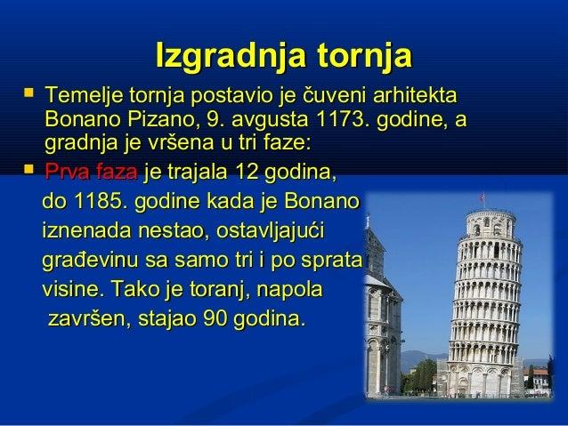 Izgradnja tornja    Temelje tornja postavio je čuveni arhitekta     Bonano Pizano, 9. avgusta 1173. godine, a     gradnja...