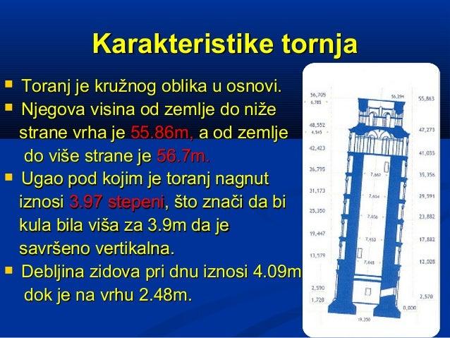 Karakteristike tornja    Toranj je kružnog oblika u osnovi.    Njegova visina od zemlje do niže    strane vrha je 55.86m...