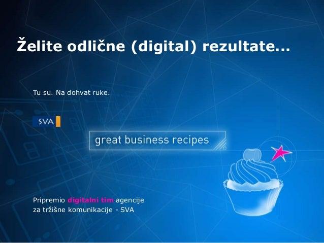 Ţelite odlične (digital) rezultate... Pripremio digitalni tim agencije za tržišne komunikacije - SVA Tu su. Na dohvat ruke.