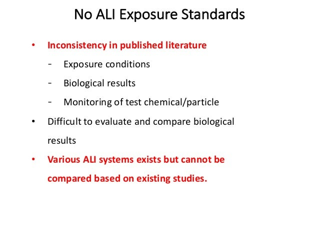 No ALI Exposure Standards • Inconsistency in published literature Exposure conditions Biological results Monitoring of tes...