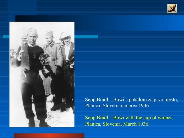 Sepp Bradl – Buwi s pokalom za prvo mesto, Planica, Slovenija, marec 1936. Sepp Bradl – Buwi with the cup of winner, Plani...