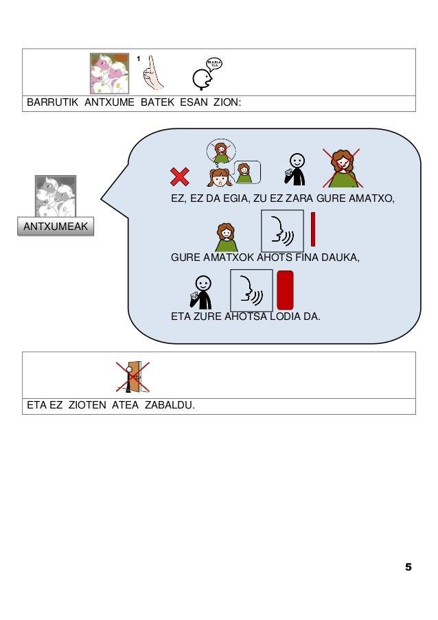 5 BARRUTIK ANTXUME BATEK ESAN ZION: ETA EZ ZIOTEN ATEA ZABALDU. EZ, EZ DA EGIA, ZU EZ ZARA GURE AMATXO, GURE AMATXOK AHOTS...