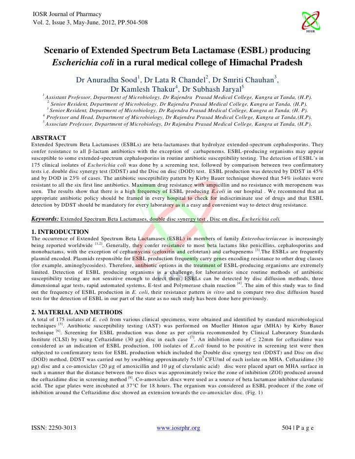 IOSR Journal of PharmacyVol. 2, Issue 3, May-June, 2012, PP.504-508     Scenario of Extended Spectrum Beta Lactamase (ESBL...