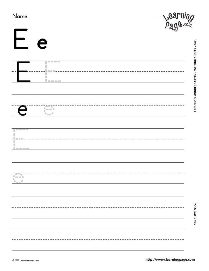 NameEe                                                     WRITING SHEETS • 062EE                                         ...