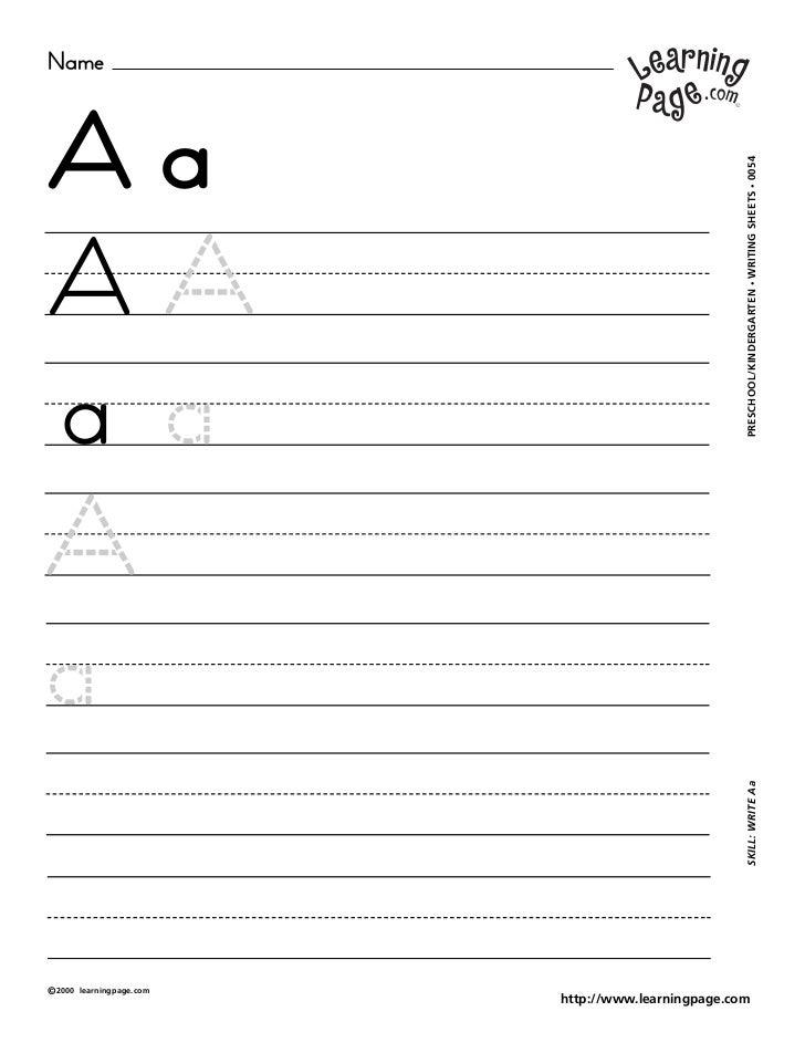 NameAa                                                     WRITING SHEETS • 0054A                                         ...