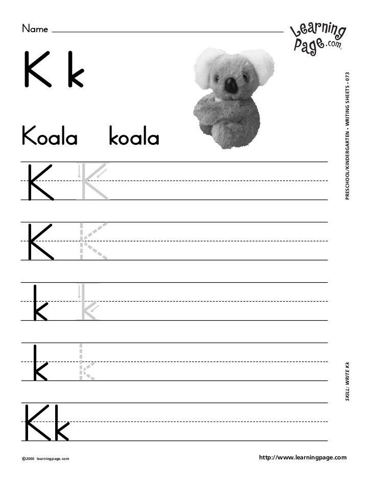 NameKk                                                             WRITING SHEETS • 073Koala                      koala   ...