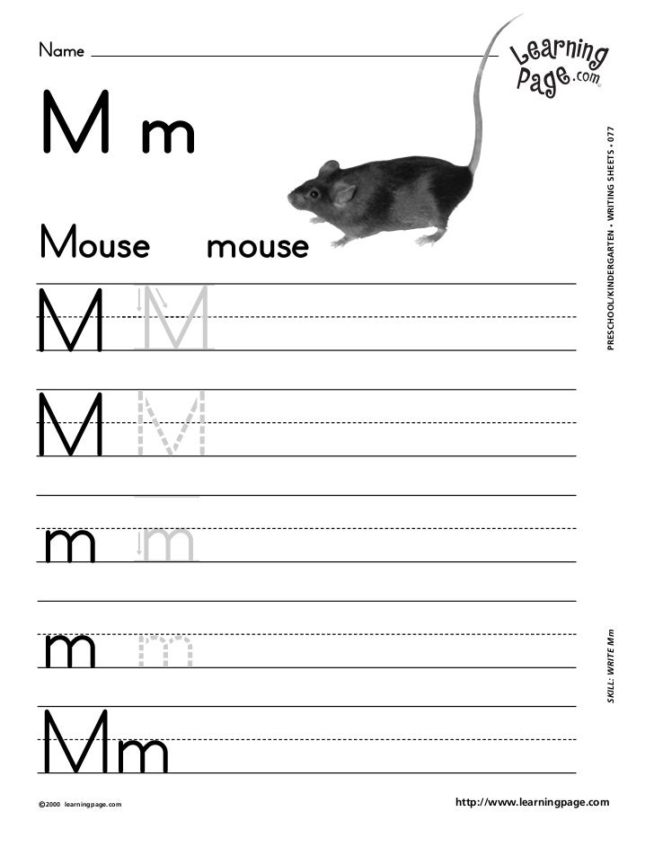 NameMm                                                             WRITING SHEETS • 077Mouse                      mouse   ...