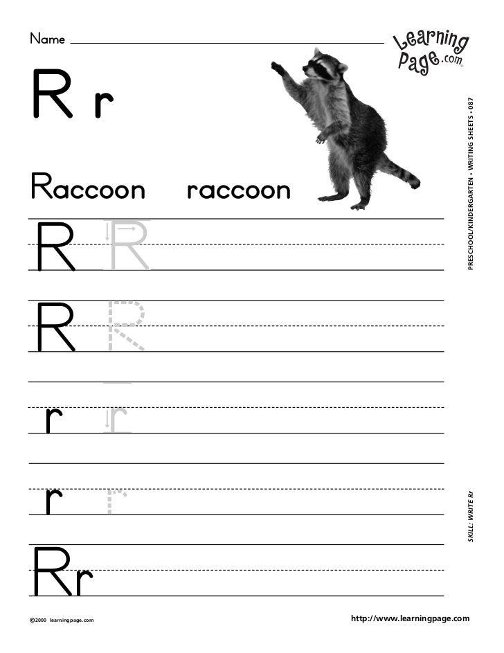 NameRr                                                               WRITING SHEETS • 087Raccoon                    raccoo...