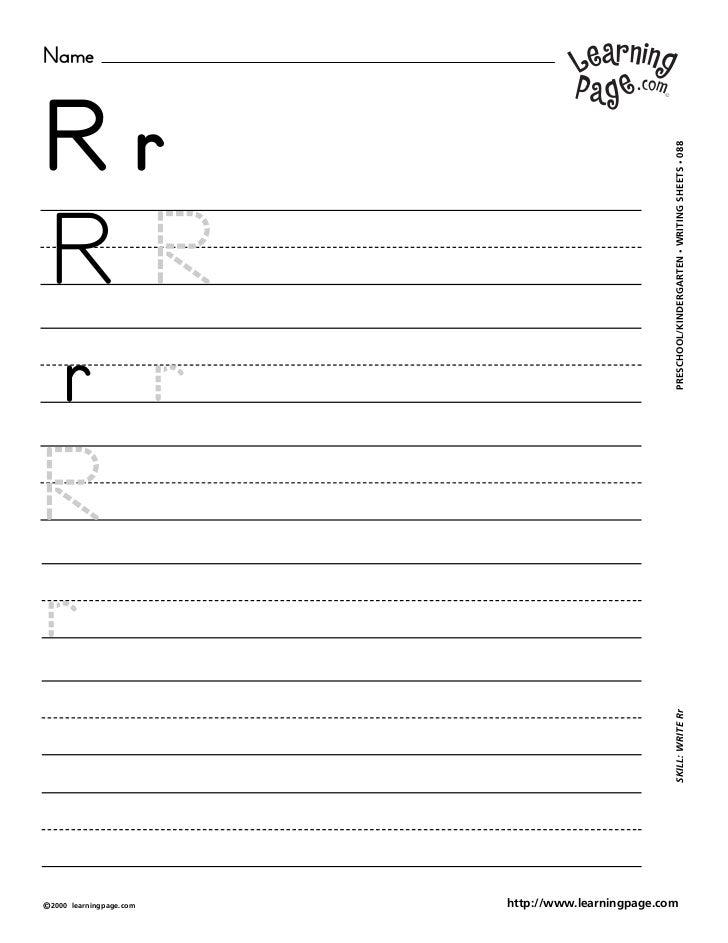 NameRr                                                     WRITING SHEETS • 088RR                                         ...