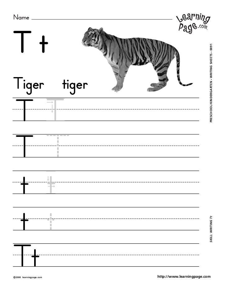 NameTt                                                             WRITING SHEETS • 0091Tiger                      tiger  ...