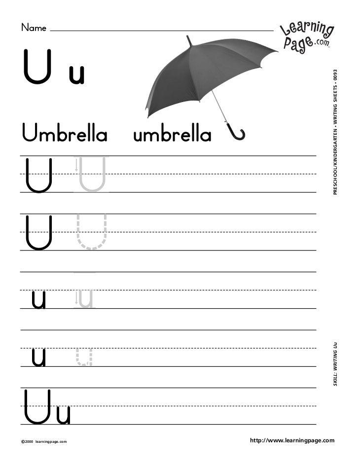 NameUu                                                     WRITING SHEETS • 0093Umbrella umbrella                         ...