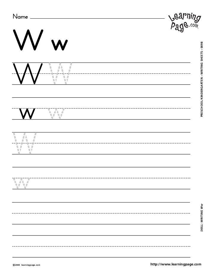 NameWw                                                     WRITING SHEETS • 0098WW                                        ...
