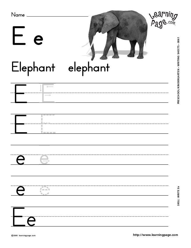 NameEe                                                     WRITING SHEETS • 0061Elephant elephant                         ...