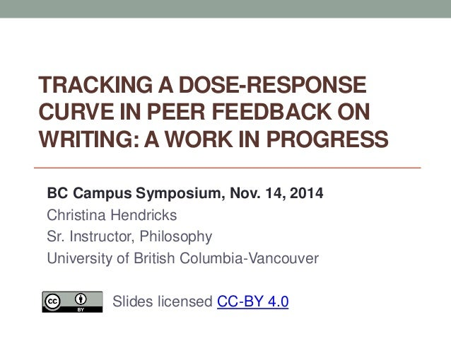 TRACKING A DOSE-RESPONSE  CURVE IN PEER FEEDBACK ON  WRITING: A WORK IN PROGRESS  BC Campus Symposium, Nov. 14, 2014  Chri...