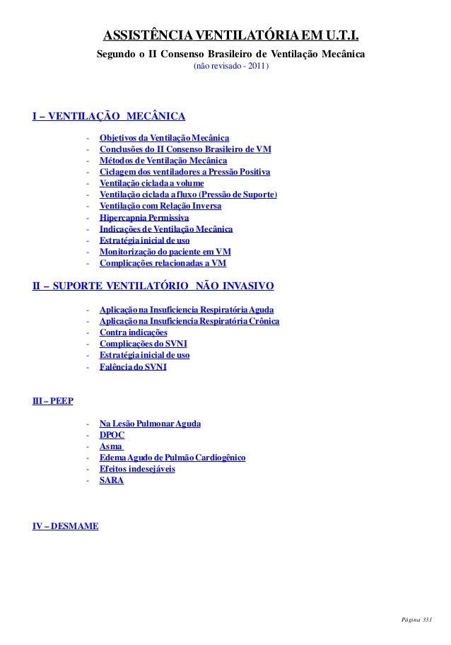 Página 331 ASSISTÊNCIAVENTILATÓRIAEM U.T.I. Segundo o II Consenso Brasileiro de Ventilação Mecânica (não revisado - 2011) ...