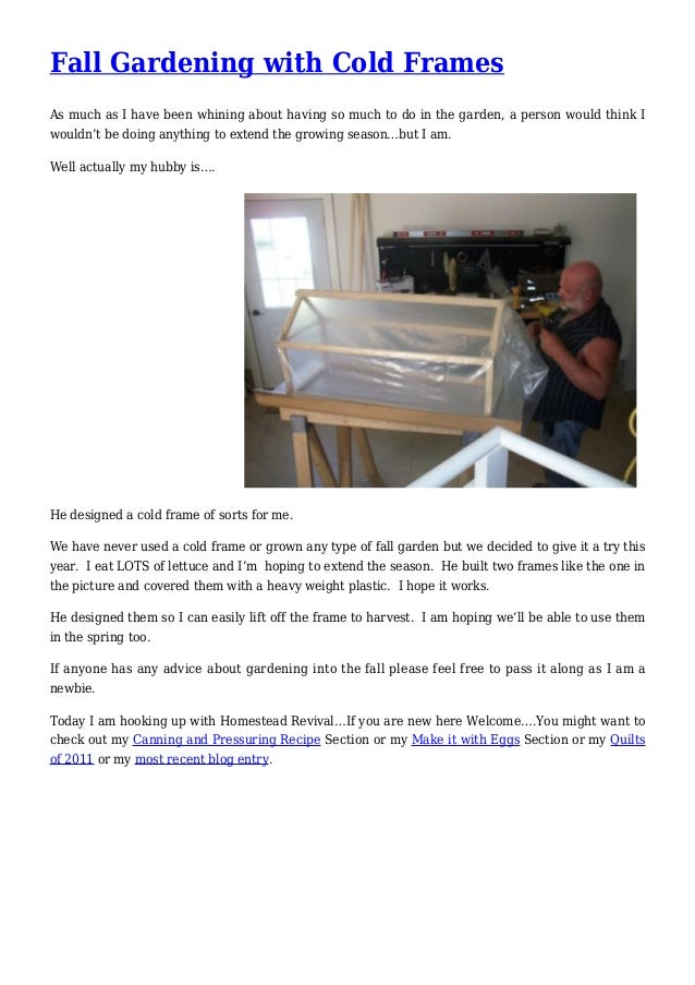 Fall Gardening with Cold Frames