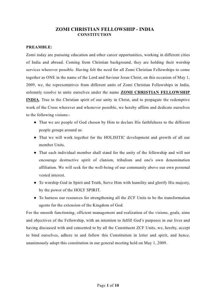 ZOMI CHRISTIAN FELLOWSHIP - INDIA                              CONSTITUTION  PREAMBLE: Zomi today are pursuing education a...