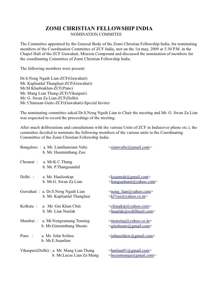 ZOMI CHRISTIAN FELLOWSHIP INDIA                              NOMINATION COMMITEE  The Committee appointed by the General B...