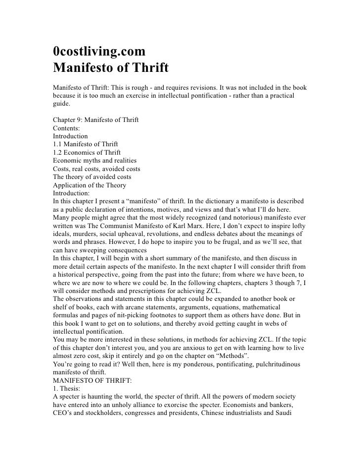 0costliving.com Manifesto of Thrift Manifesto of Thrift: This is rough - and requires revisions. It was not included in th...