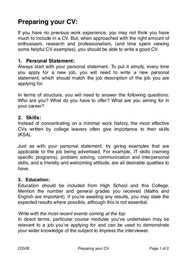 cv personal statement for school leavers