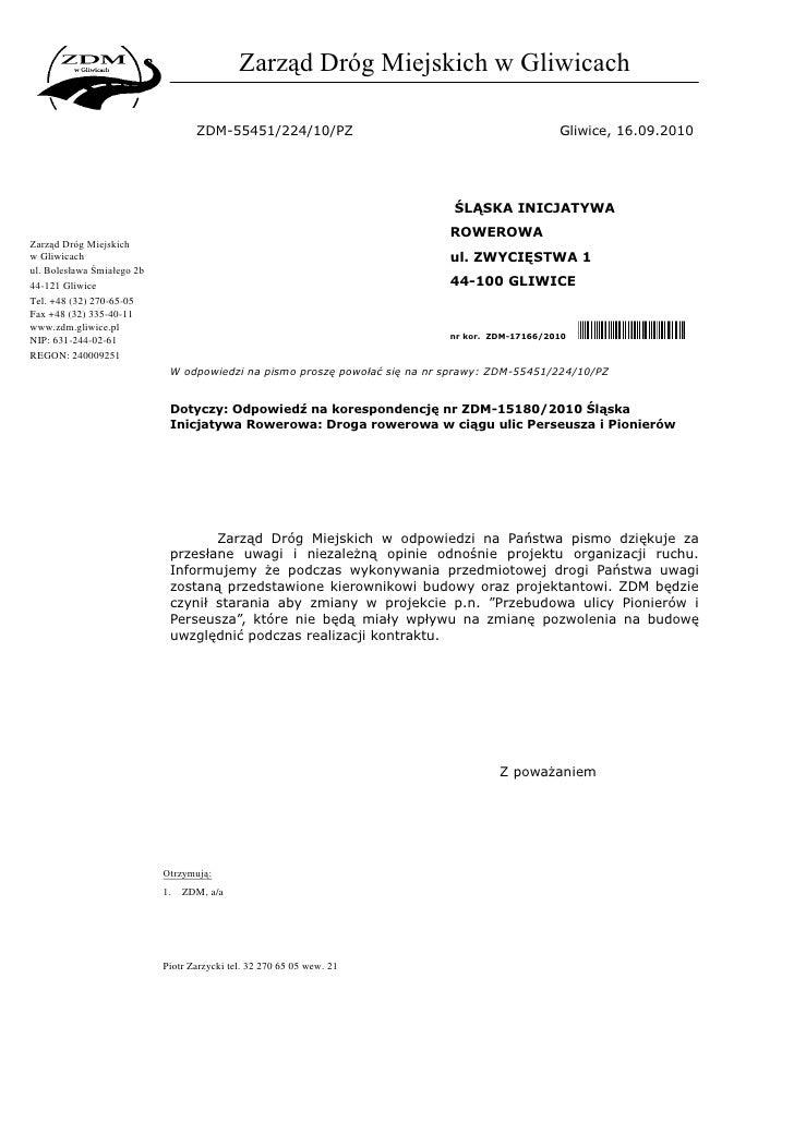 Zarząd Dróg Miejskich w Gliwicach                                     ZDM-55451/224/10/PZ                                 ...
