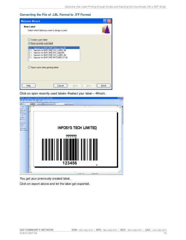 Zebra Bar One Label Printing