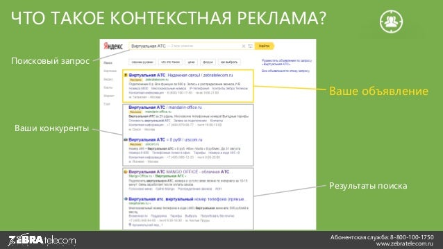 Абонентская служба: 8-800-100-1750 www.zebratelecom.ru ЧТО ТАКОЕ КОНТЕКСТНАЯ РЕКЛАМА? Поисковый запрос Ваше объявление Ваш...