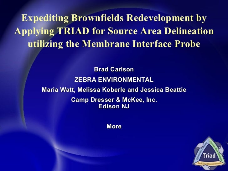Expediting Brownfields Redevelopment by Applying TRIAD for Source Area Delineation utilizing the Membrane Interface Probe ...