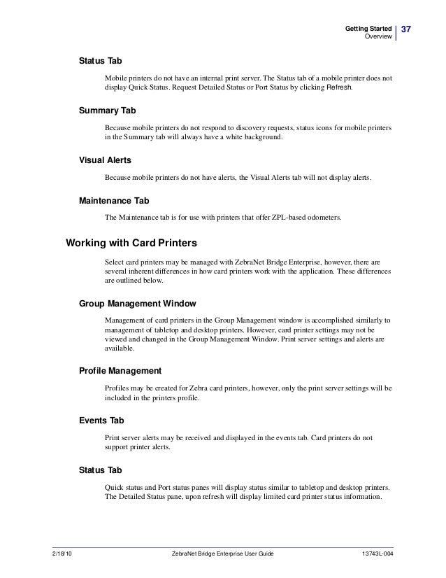ZebraNet Bridge Enterprise - Manual do Software