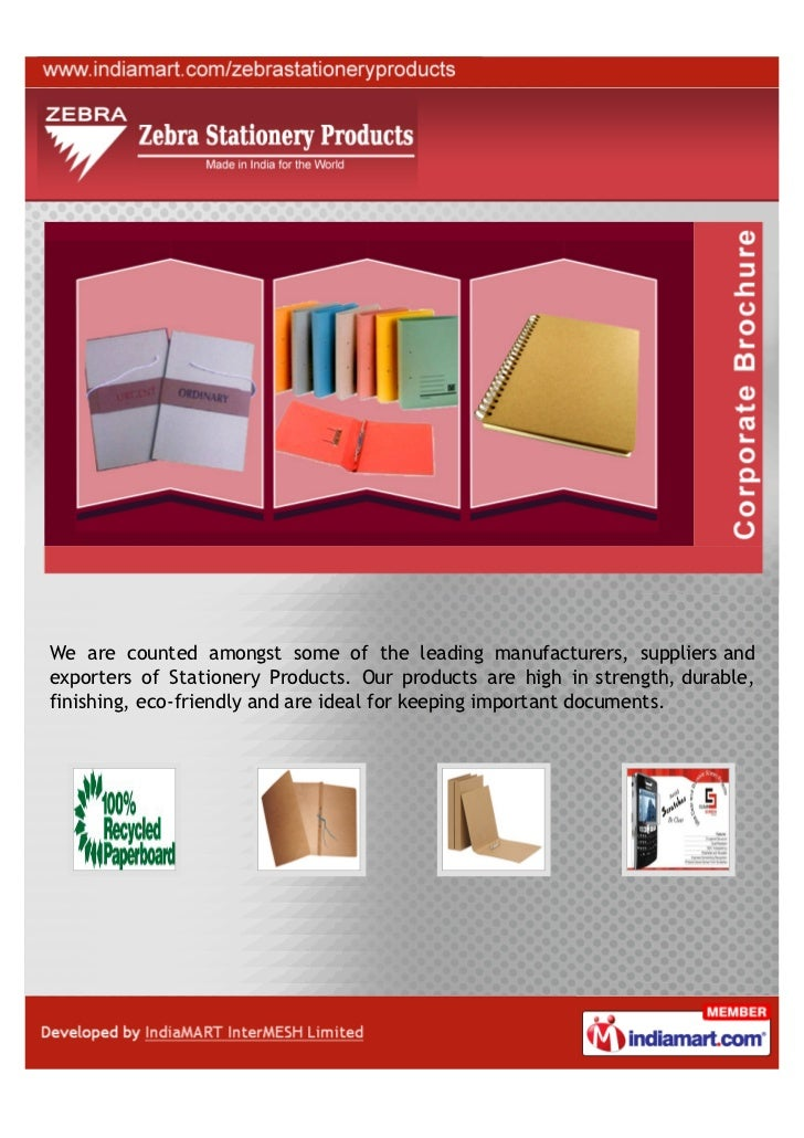 We are counted amongst some of the leading manufacturers, suppliers andexporters of Stationery Products. Our products are ...