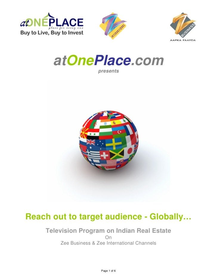 atOnePlace.com                         presents     Reach out to target audience - Globally…     Television Program on Ind...