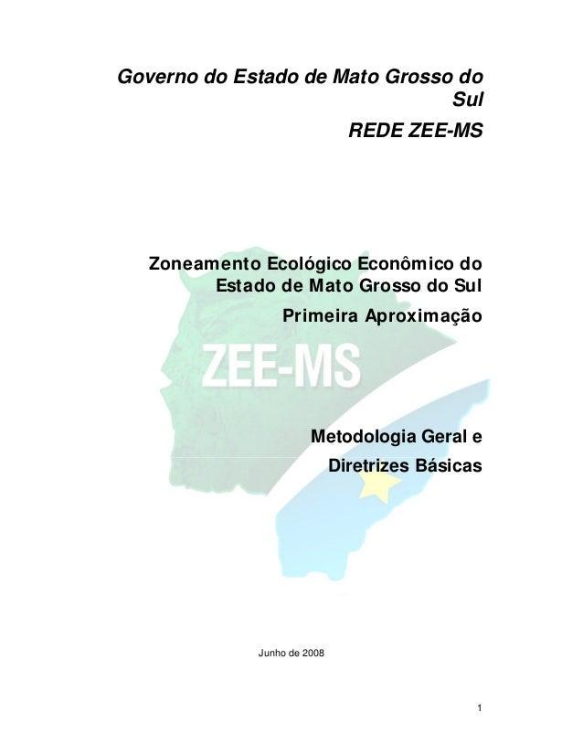 1 Governo do Estado de Mato Grosso do Sul REDE ZEE-MS Zoneamento Ecológico Econômico do Estado de Mato Grosso do Sul Prime...