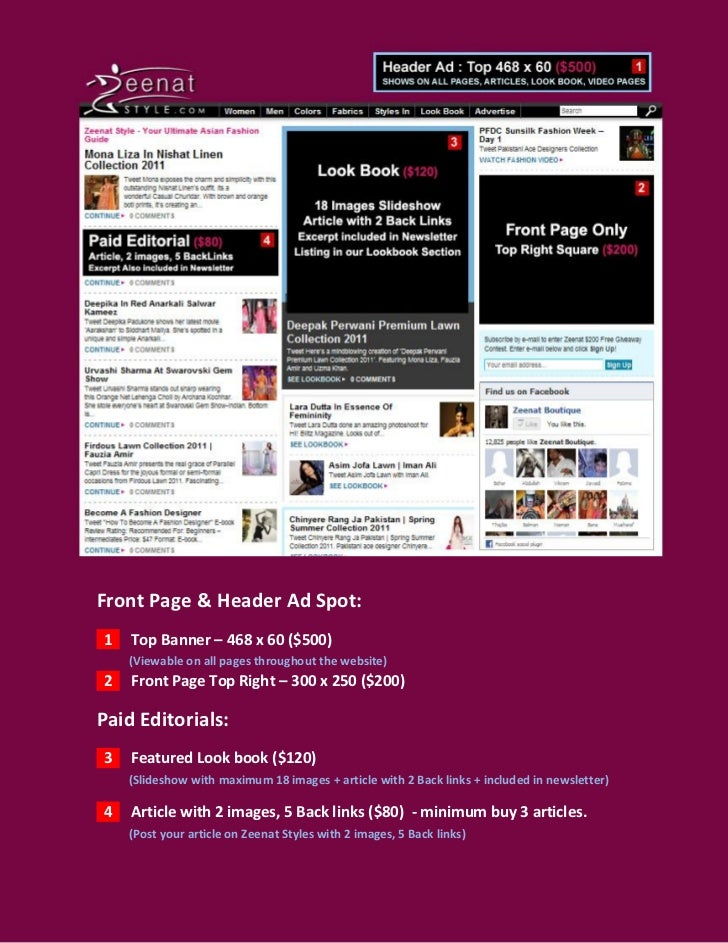 Front Page & Header Ad Spot:1   Top Banner – 468 x 60 ($500)    (Viewable on all pages throughout the website)2   Front Pa...